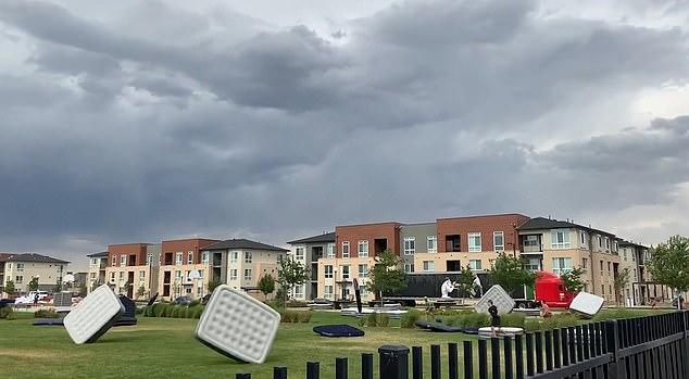 WATCH: Denver Storm Sends Multiple Inflatable Mattresses Flying