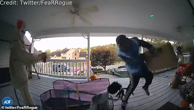 WATCH: Amazon Delivery Man Gets Scared At Halloween Decorations On Porch