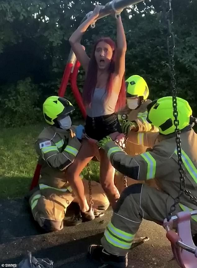 WATCH: Teen Girl Freed By Firefighters After Getting Stuck In Baby Swing