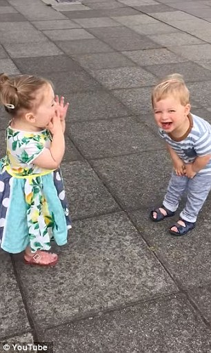 Two Toddlers Laugh Hysterically After They Kiss Each Other....Over And Over Again