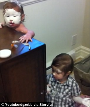 Toddler Cakes Himself And His Younger Sister In Diaper Cream