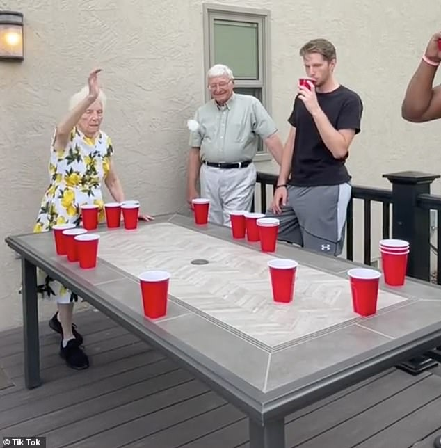 Grandparents OWN their Grandson and His Friends in Beer Pong