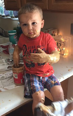 WATCH: Parents Find Little Boy On Kitchen Counter Covered In Peanut Butter