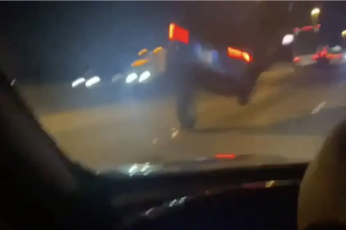 WATCH: Car Takes Off Flying After Hitting Stray Tire