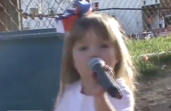 3-Year-Old Girl Sings the National Anthem