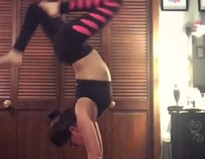 Woman Tries Yoga Handstand on Camera… Fails