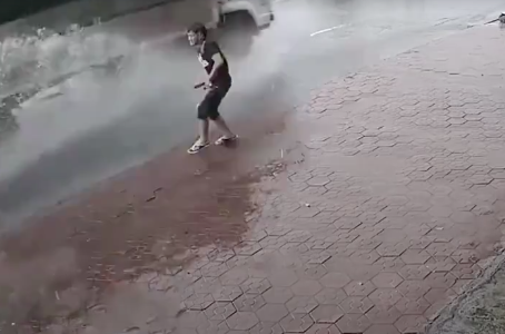 Dude Decides to Pee in the Street, Gets Hit with Instant Justice