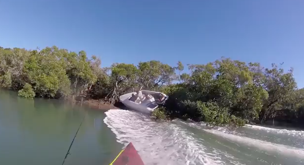 Dude Crashes his Speedboat and Almost Takes Out a Kayaker
