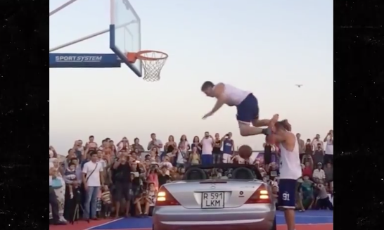 Super Dunker Tries Dunking Over a Car... Fails