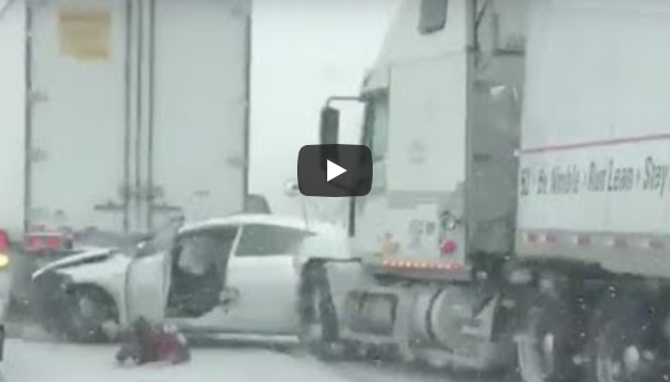 Woman Jumps Out Of Car Before Semi Hits Her