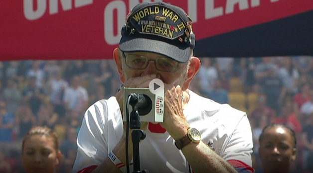 A 96-Year-Old WWII Veteran Stuns Soccer Fans with his Harmonica Rendition of the National Anthem