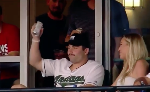 Browns QB Baker Mayfield Shotguns a Beer at Indians Game