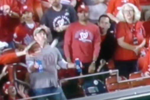 Fan Refuses to Drop his BEERS, Takes a Home Run Ball in the Chest Instead