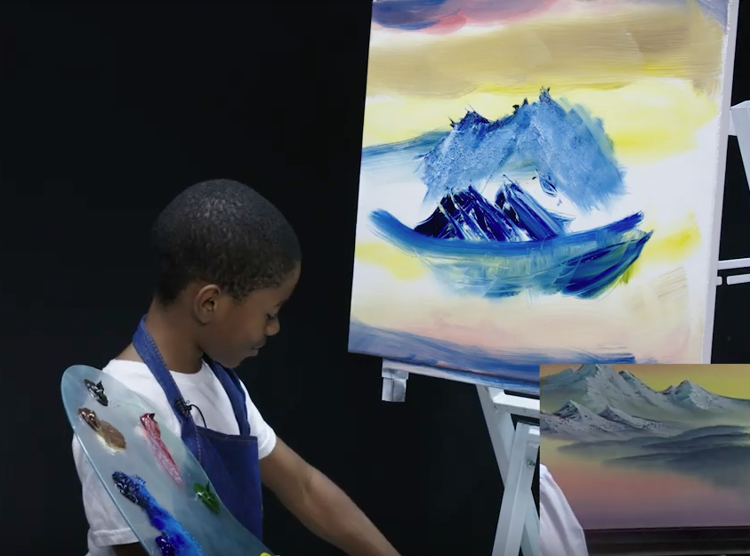 11-Year-Old Tries To Follow a Bob Ross Painting Tutorial