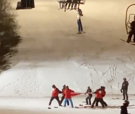 Woman Dangles from Ski Lift, Crew Catches Her with a Tarp