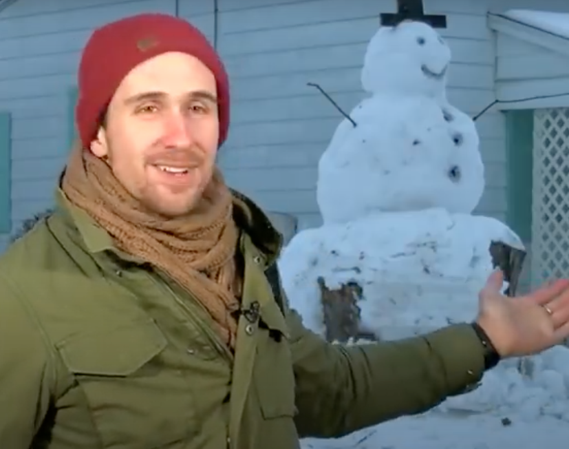 Man Tries to Run Over a Snowman... Doesn