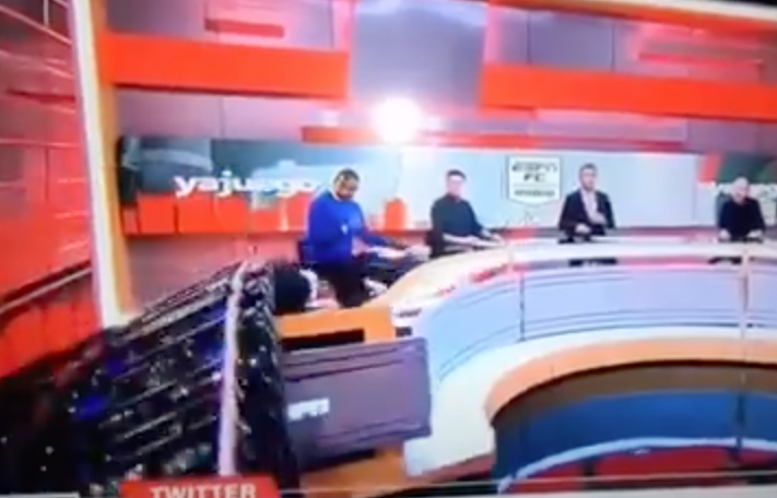 Piece of Set Falls During ESPN Broadcast, Smashes Analyst into Desk