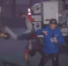 WATCH: Guy Does Cartwheel During Live Broadcast During Hurricane Ida
