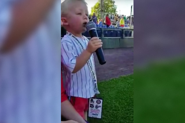 3-Year-Old Sings the National Anthem Before a Minor League Baseball Game