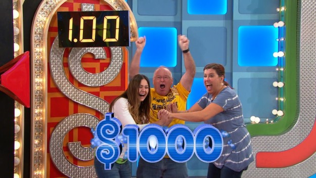 """Three Contestants Spin $1 on the """"Price is Right"""""""